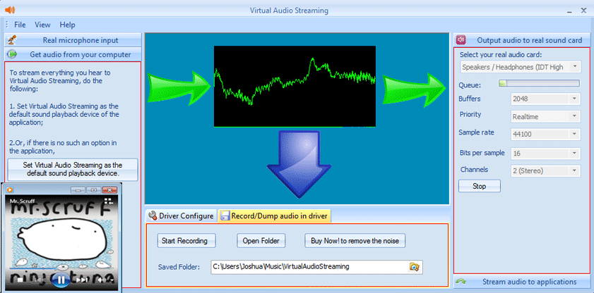 Virtual Audio Streaming Pro software screenshot