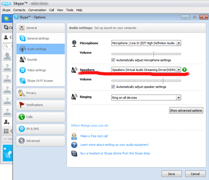 set VirtualAudioStreaming as output speakers in Skype
