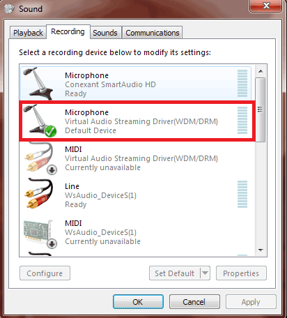 set VirtualAudioStreaming as default recording device on Windows7