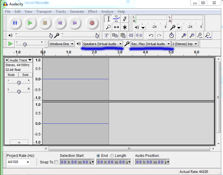 select Virtual Audio Streaming device Pins in Audacity