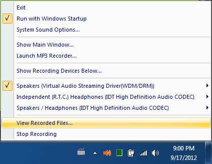 view recorded wav files command of Virtual Audio Streaming systray menu